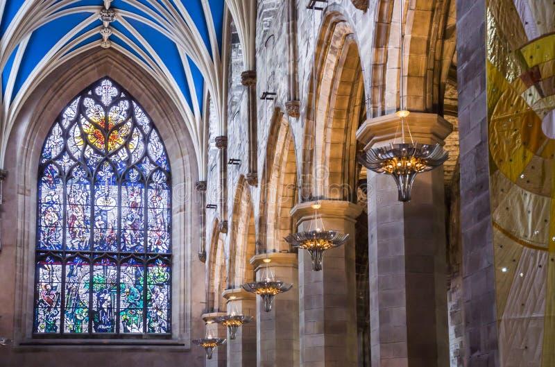 Inre av St Giles Cathedral, Edinburg, detalj royaltyfri bild