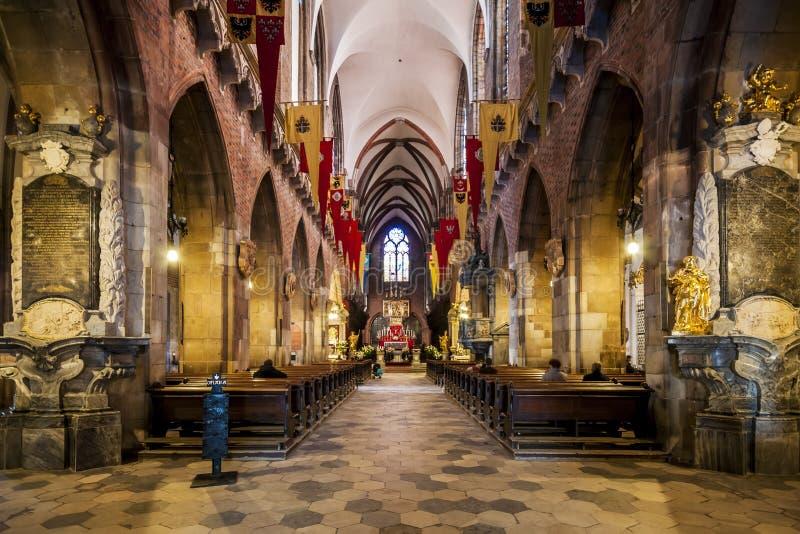 Inre av St John den baptistiska domkyrkan, Wroclaw, Polen royaltyfri fotografi
