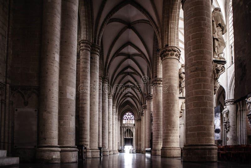 Inre av St Michael och domkyrkan för St Gudula royaltyfria bilder