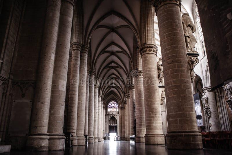 Inre av St Michael och domkyrkan för St Gudula royaltyfria foton