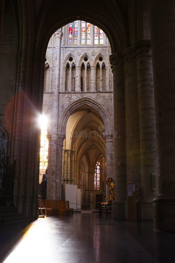 Inre av St Michael och domkyrkan för St Gudula arkivbilder