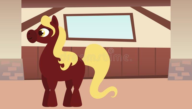 Inre av stallen med hästen vektor illustrationer
