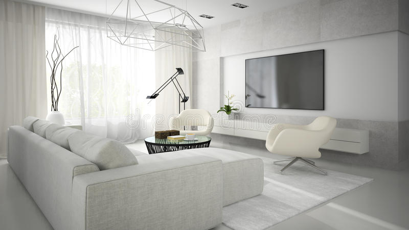 Inre av stilfullt modernt rum med den vita soffan 3D som framför 2 arkivfoton