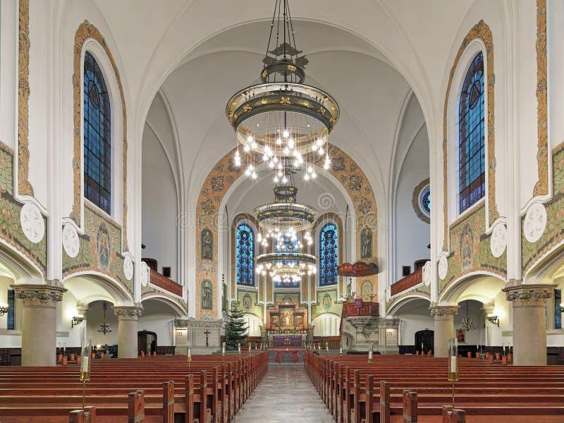 Inre av Sts John kyrka (den Sankt Johannes kyrkaen) i Malmo, Sverige arkivbilder