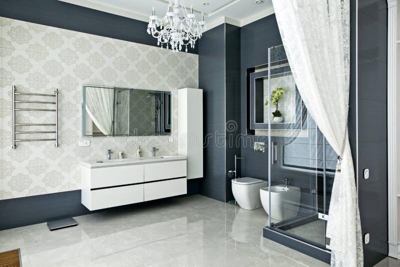 Inre av stugan: badrum fotografering för bildbyråer