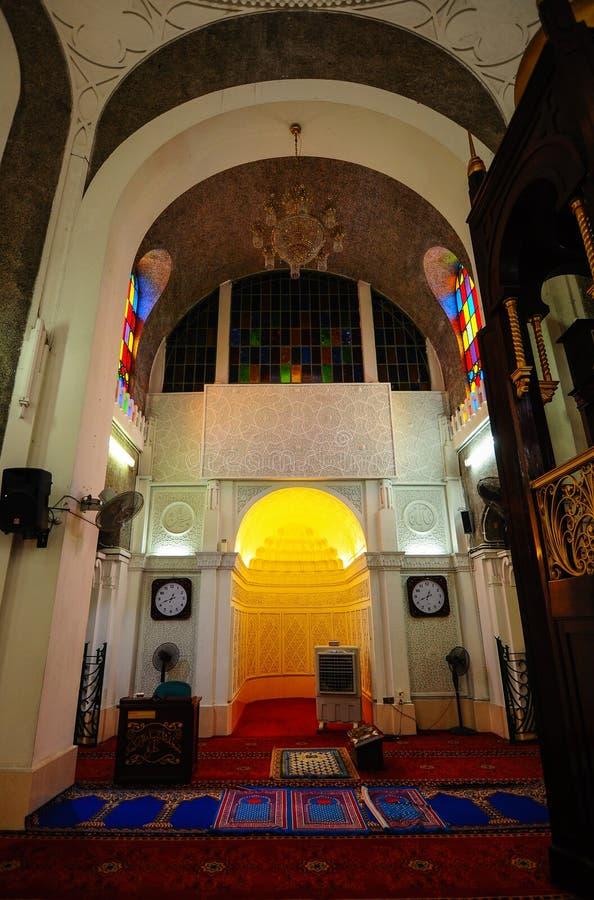 Inre av Sultan Sulaiman Mosque i Klang arkivfoton