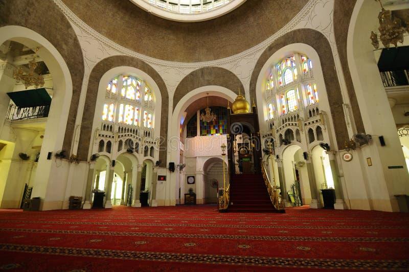 Inre av Sultan Sulaiman Mosque i Klang fotografering för bildbyråer