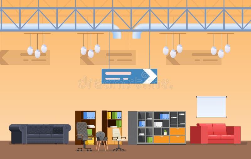 Inre av supermarketbyggnad, shoppar, köpcentret, detaljhandel, försäljningsmöblemang royaltyfri illustrationer