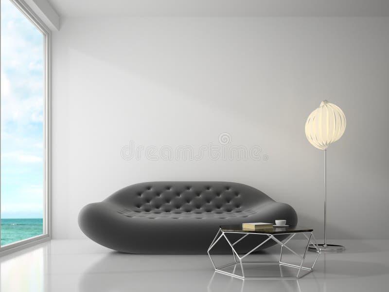 Inre av tolkningen för rum 3D för modern design royaltyfria bilder