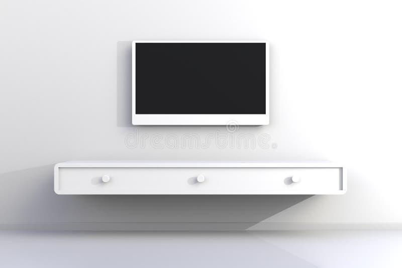 Inre av tomt rum med TV, vardagsrum ledde tv på den vita väggen med modern vindstil för trätabell stock illustrationer