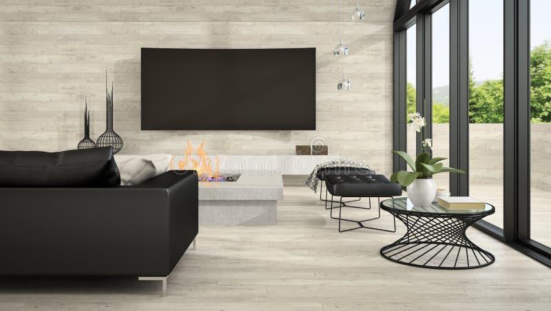 Inre av vardagsrum 3D som för modern design framför 5 arkivbild
