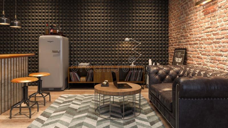 Inre av vardagsrum för modern man med tolkningen för stång 3D royaltyfria bilder