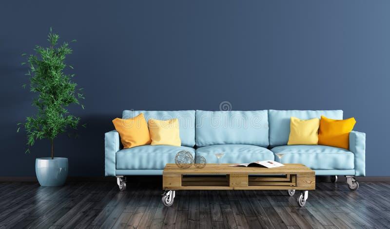Inre av vardagsrum med soffan 3d framför royaltyfri illustrationer