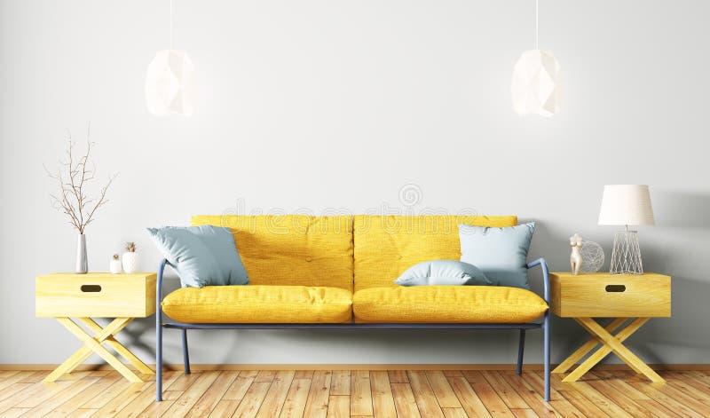 Inre av vardagsrum med tolkningen för soffa 3d royaltyfri illustrationer