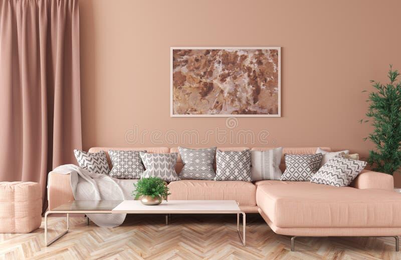 Inre av vardagsrum med tolkningen för soffa 3d stock illustrationer