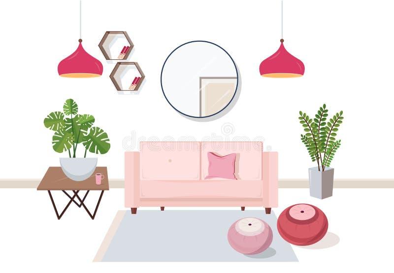 Inre av vardagsrum mycket av bekvämt möblemang och hem- garneringar - uttrycka, kaffetabellen, husväxter, ottoman vektor illustrationer