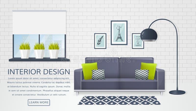 Inre av vardagsrummet i lager vektor för baner eps10 mapp stock illustrationer