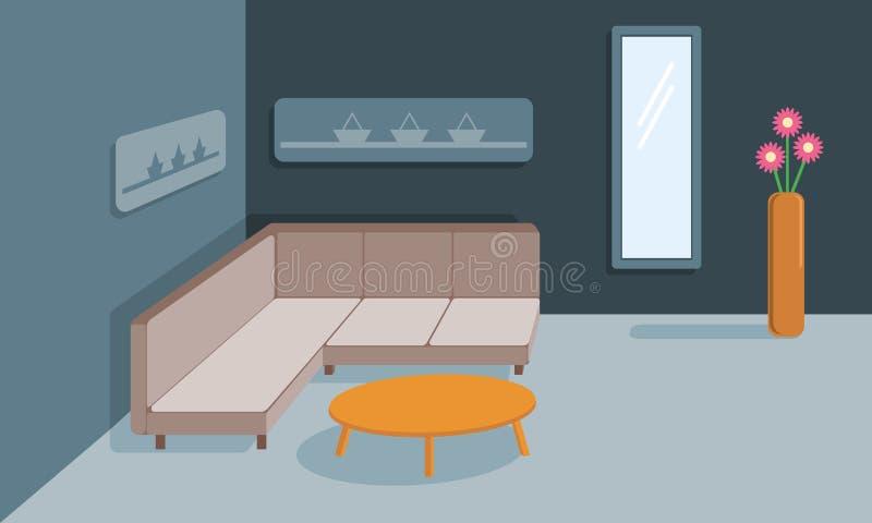 Inre av vardagsrummet i lager vektor för baner eps10 mapp Design av ett hemtrevligt rum med soffan, kaffetabellen och dekortillbe stock illustrationer