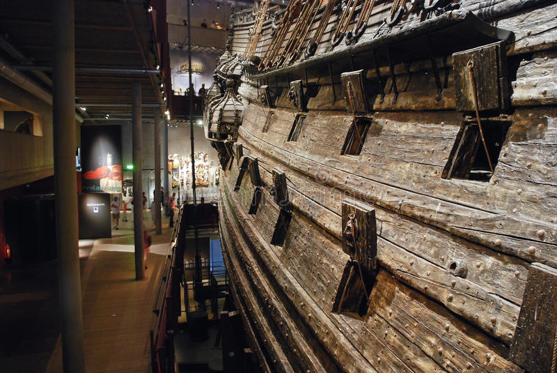 Inre av Vasamuseet i Stockholm, Sverige royaltyfri foto
