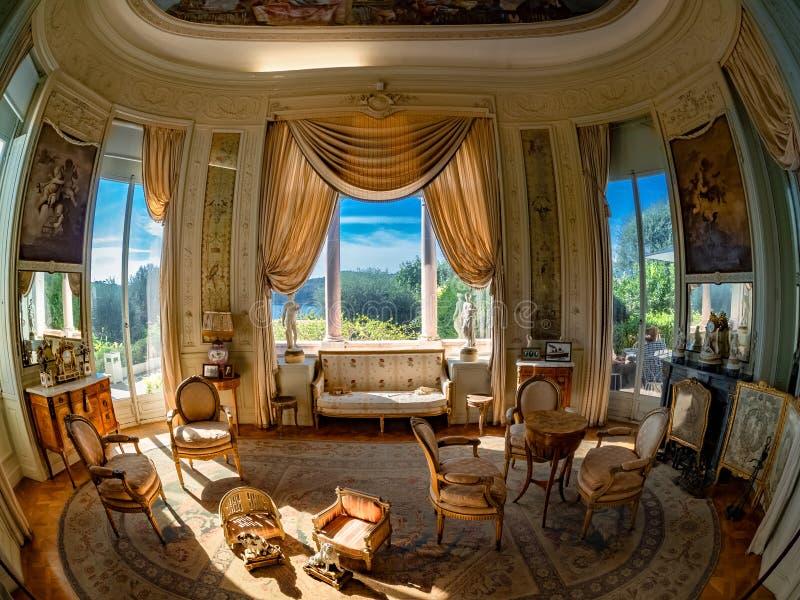 Inre av villan Ephrussi av kungafamiljen de Rothschild fotografering för bildbyråer