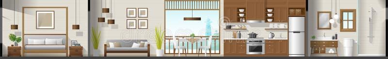 Inre avsnittpanorama för hus inklusive sovrum, vardagsrum, matsal, kök och badrum stock illustrationer