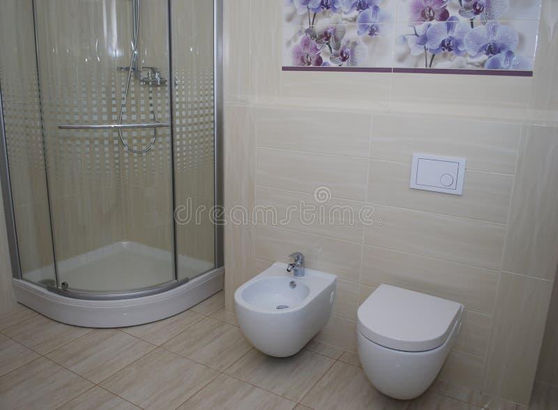 Inre badrumdusch med en dörr, den inbyggde toaletten och bidén royaltyfri bild