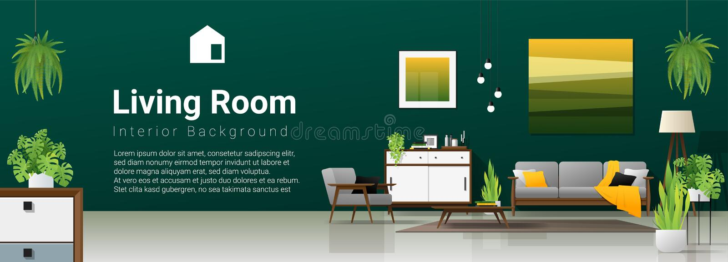 Inre bakgrund av modern vardagsrum i naturligt begrepp med trämöblemang, växter och den gröna väggen vektor illustrationer