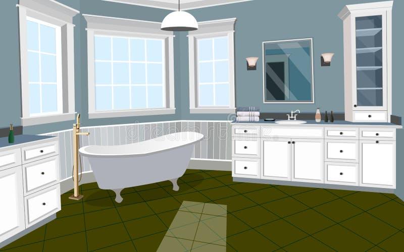 Inre bakgrund för badrum med möblemang royaltyfri illustrationer