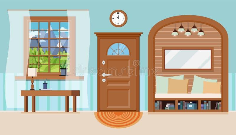 Inre bakgrund för hemtrevlig hem- farstu med möblemang stock illustrationer