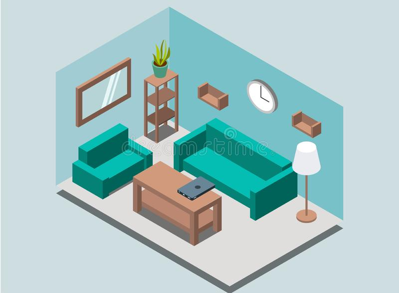 Inre bakgrund för hemtrevlig hem- vardagsrum med bokhyllor, kugge, lampa, växt, fåtölj, soffa, väggklocka, spegel, tabell, bärbar stock illustrationer
