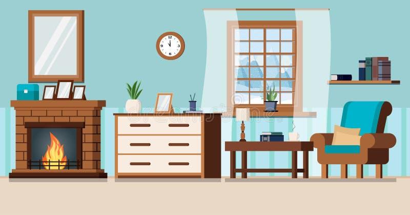 Inre bakgrund för hemtrevlig hem- vardagsrum med spisen royaltyfri illustrationer