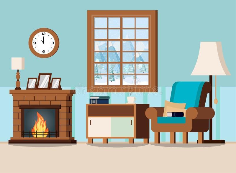 Inre bakgrund för hemtrevlig hem- vardagsrum med spisen vektor illustrationer