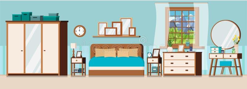 Inre bakgrund för hemtrevligt sovrum med möblemang och fönstret royaltyfri illustrationer