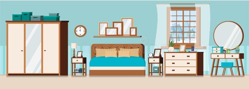 Inre bakgrund för hemtrevligt sovrum med möblemang och fönstret stock illustrationer