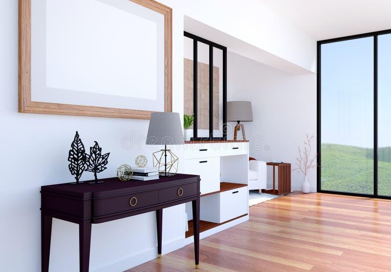 Inre bakgrund för modern lyxig vardagsrum med åtlöje upp den tomma affischramen, tolkning 3D vektor illustrationer