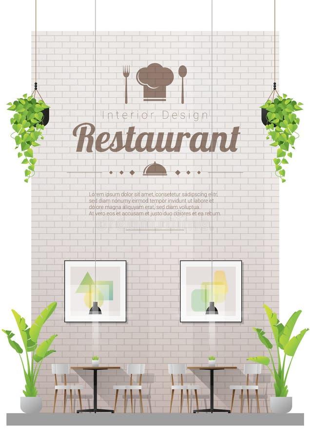 Inre bakgrund, modern restaurang med tabeller och stolplats royaltyfri illustrationer