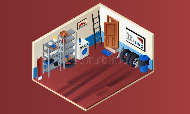 Inre baner för hem- garage, isometrisk stil stock illustrationer