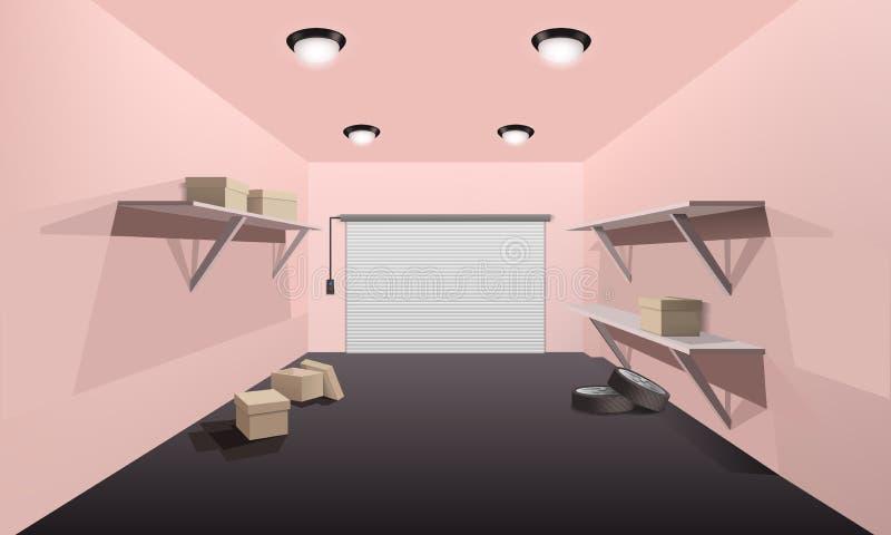 Inre begreppsbaner för garage, realistisk stil stock illustrationer