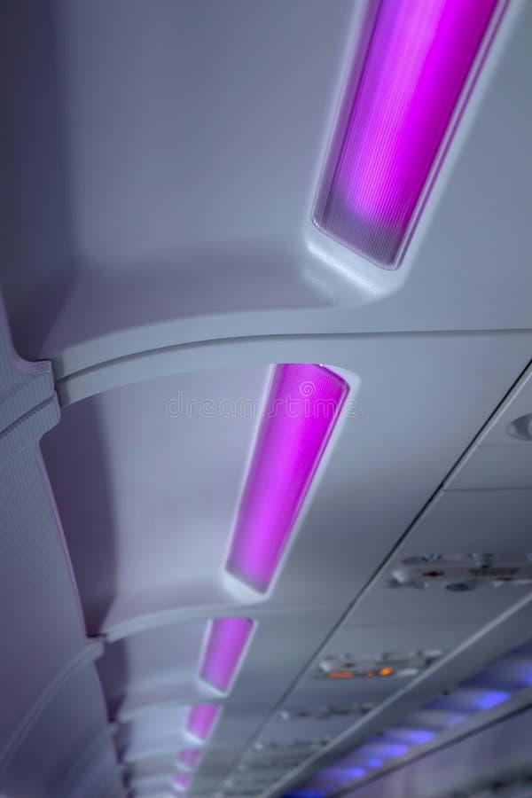 Inre belysning för flygplan arkivbilder