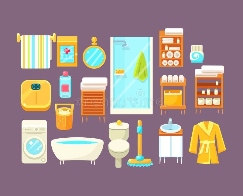 Inre beståndsdeluppsättning för badrum stock illustrationer