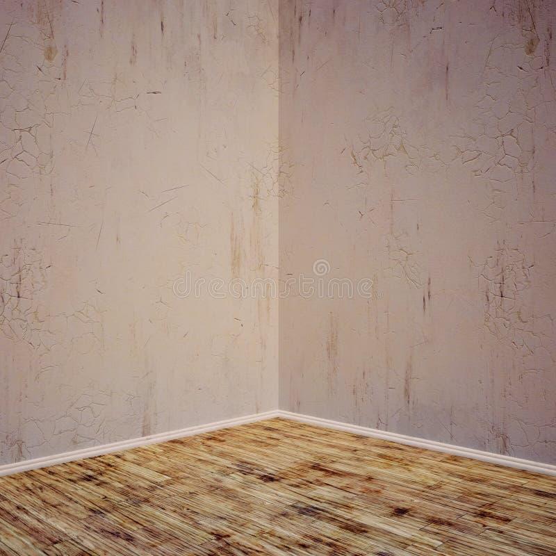 Inre betongvägg för Grunge, wood golv Rum för skärm- eller montageprodukt stock illustrationer