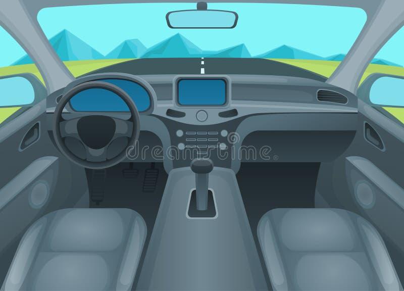 Inre bil eller auto inre vektor royaltyfri illustrationer