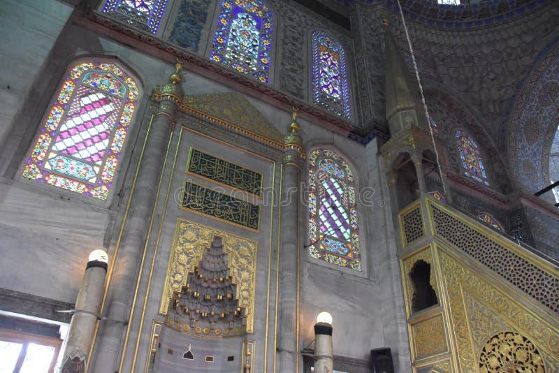 Inre blå moské Ä°stanbul för Sultanahmet moské royaltyfria bilder