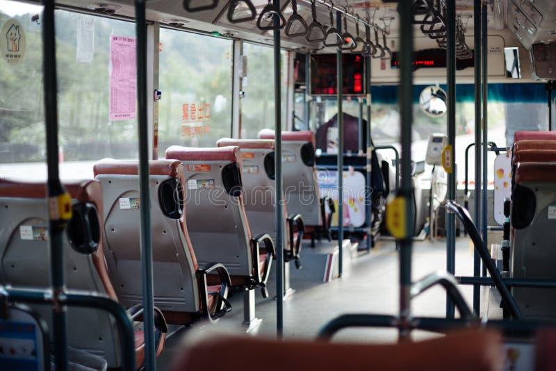 Inre buss i Taiwan - grunt djup arkivbild