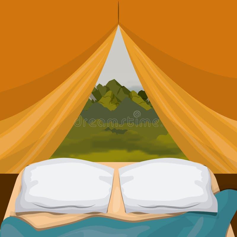 Inre campa tält för bakgrund med den scenary yttersidan för block och för landskap stock illustrationer