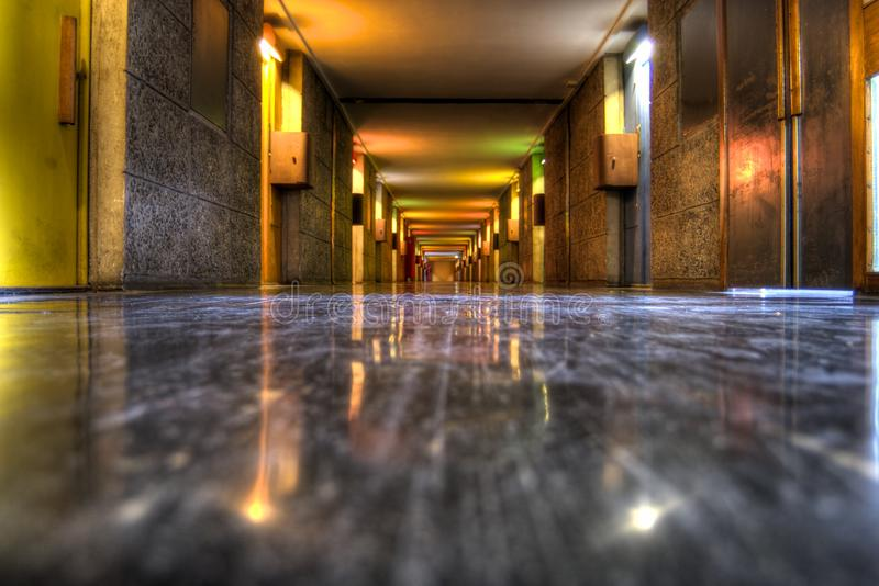 Inre - citera Radieuse Corbusier royaltyfri fotografi