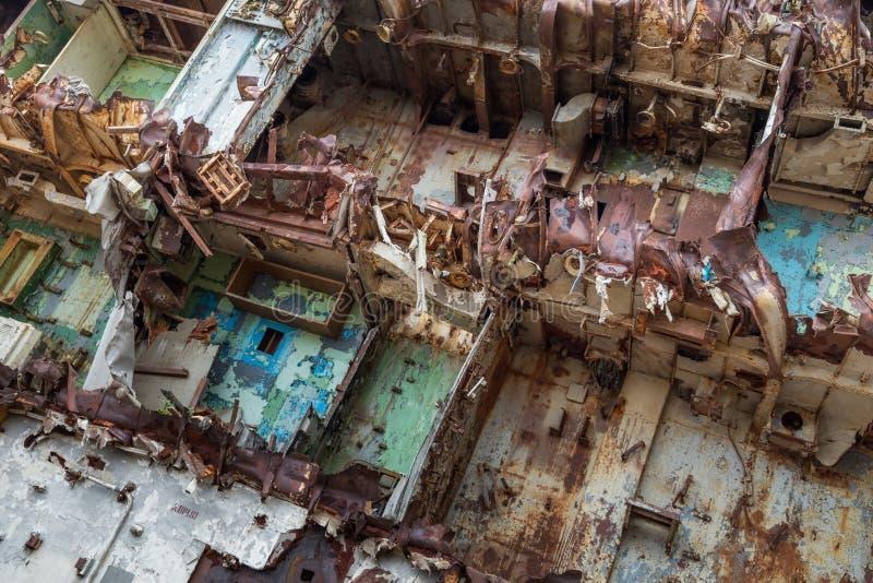 Inre delar av det decommissioned marin- skeppet royaltyfri fotografi