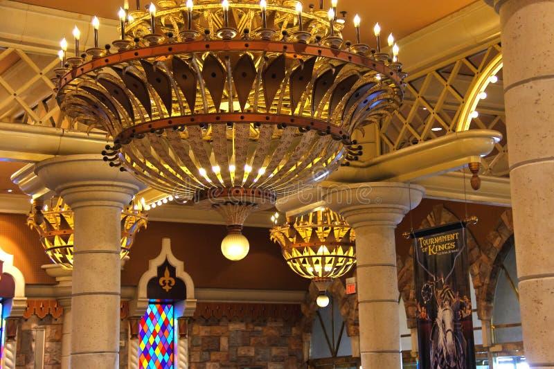 Inre det Excalibur hotellet och kasinot i Las Vegas. arkivbilder