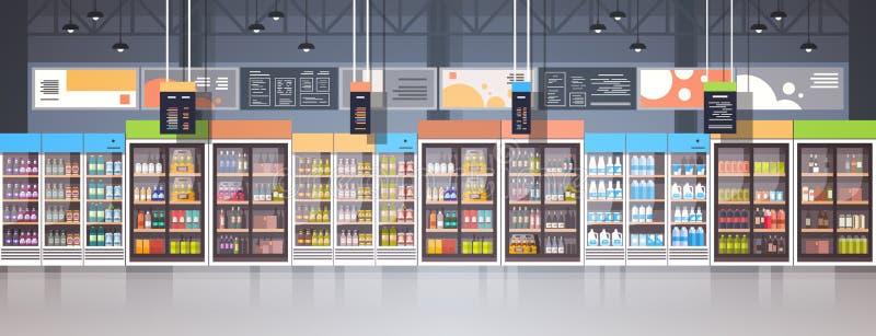 Inre detaljist för supermarket med sortimentet av livsmedelsbutikmat på hyllahorisontalbaner stock illustrationer