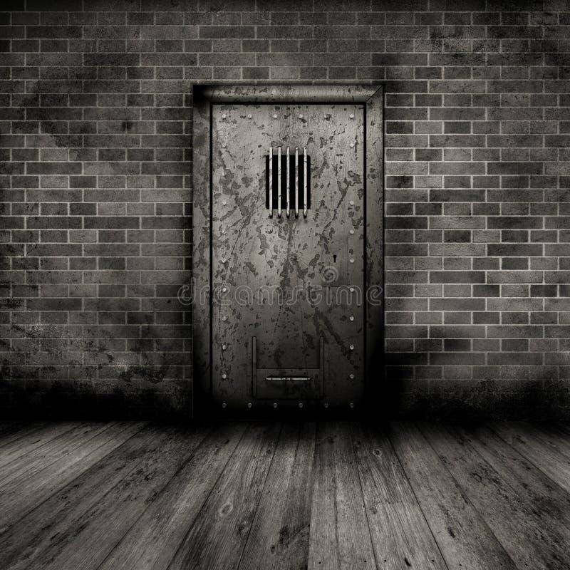 inre fängelse för dörrgrunge stock illustrationer